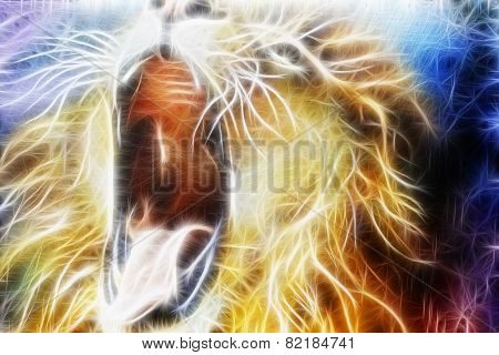 Lion Fractal  Abstract Cosmical Background fractal efect