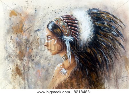 Beautiful Airbrush Painting Of A Young Indian Woman Wearing A Big Feather Headdress, A Profile Portr