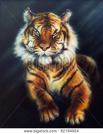 A Beautiful Oil Painting On Canvas Of A Mighty Tiger Looking Up From Black Background, illustration