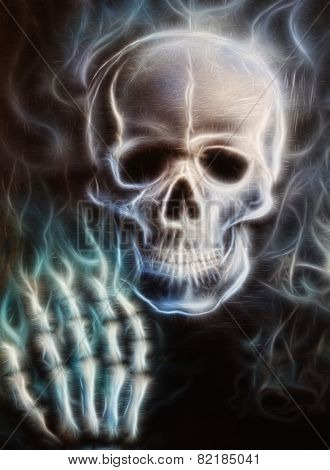 Pirate skull  With Hand  Painting Fractal Effect