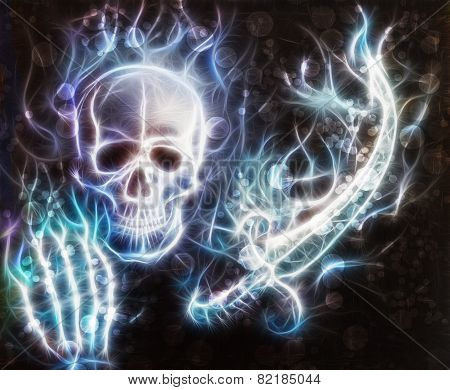Skull With A Hand, Sword With Bokeh And Fractal
