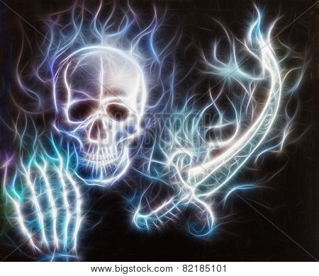 Pirate Skull With A Hand, Sword With Bokeh And Fractal