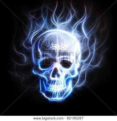 Pirate Skull Fractal Ornament Background Airbrush