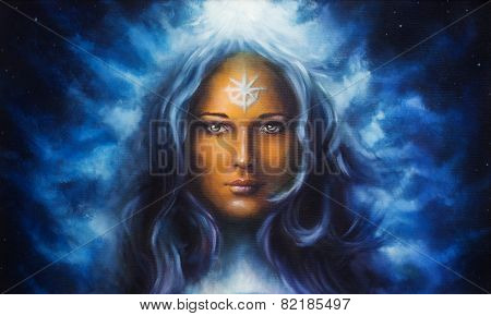 Spiritual painting, woman goddess with long blue hair holdingn eye contact with star on forehead