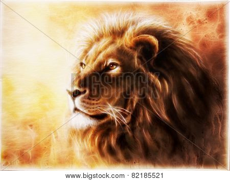 Lion Fractal animals king  illustrationon orange ocher background