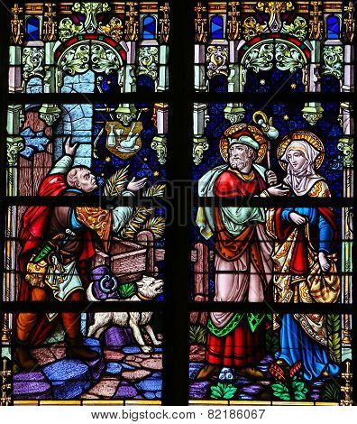 Joseph And Maria Refused At A Bethlehem Tavern At Christmas - Stained Glass
