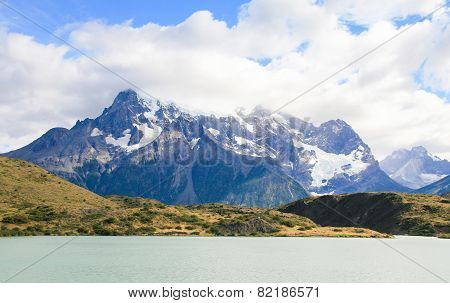 Lake Pehoe And Los Cuernos In Torres Del Paine National Park In Patagonia, Chile
