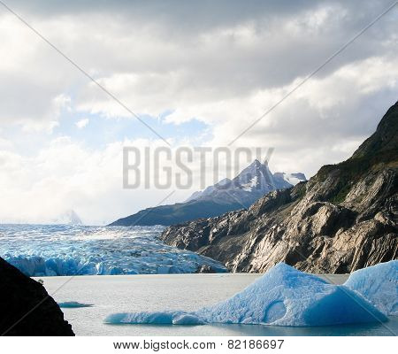 Glacier In Torres Del Paine National Park In Patagonia, Chile