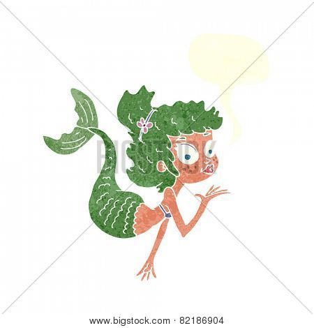 cartoon pretty mermaid with speech bubble