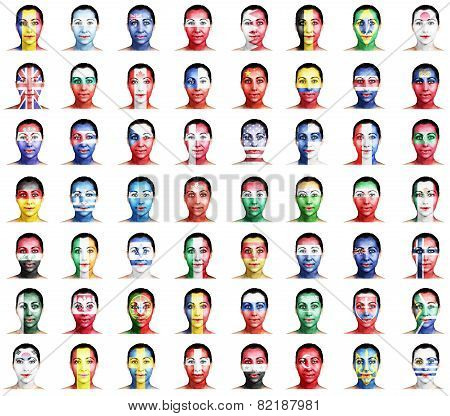 Flags Of Different Countries On A Woman's Face.