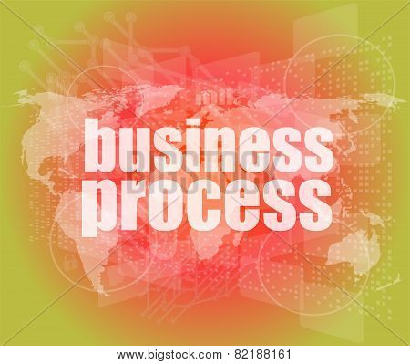Business Process Word On Digital Screen, Mission Control Interface Hi Technology