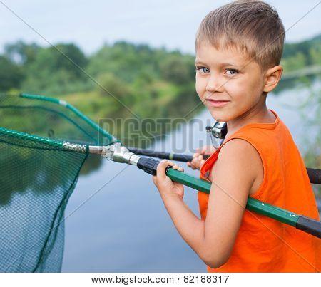 Boy fishing.