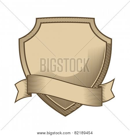 Vintage engraved shield with scroll vector. Shield with scroll, vintage engraved style in two colors, easily editable with global color swatches