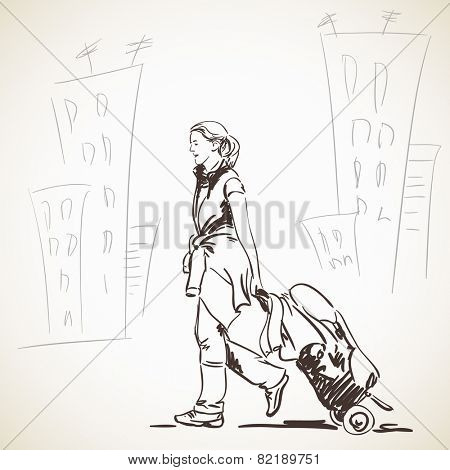 Sketch of Woman walking with bag on wheels, Hand drawn vector illustration