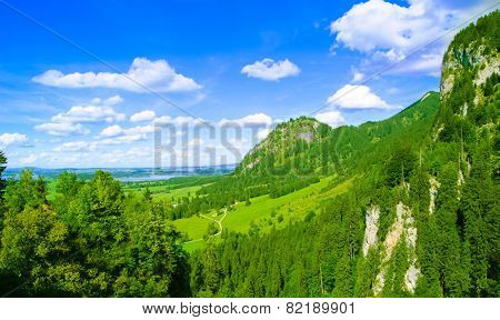 High Mountains near Schwangau Village and Neuschwanstein and Hohenschwangau Castles