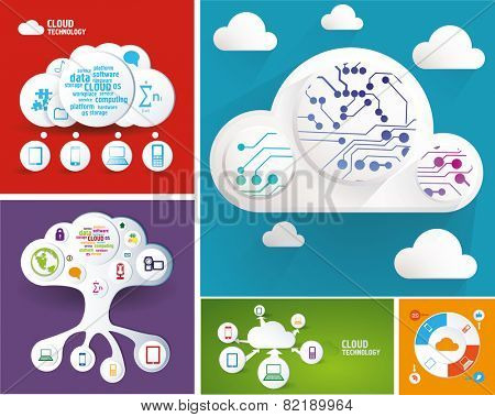Cloud computing and technology. Vector illustration.