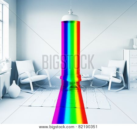 Rainbow color light from the lamp in a white interior. Art-style 3d concept