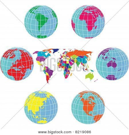 Set With Earth Globes And World Map In Different Colors