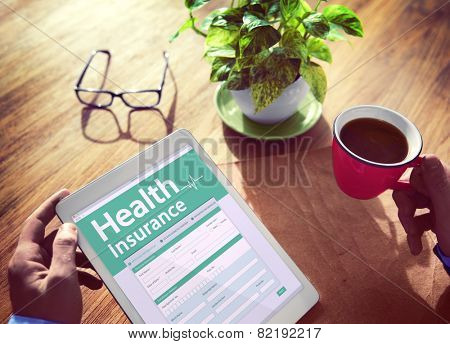 Health Insurance Digital Device Searching Wireless Tablet Concept