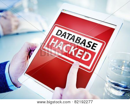 Hands Holding Digital Tablet Database Hacked