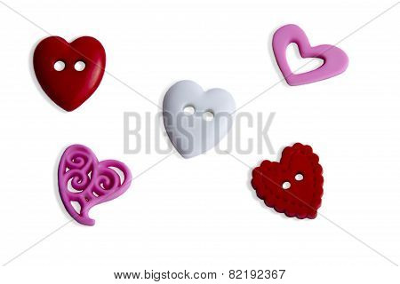 5 Button Hearts
