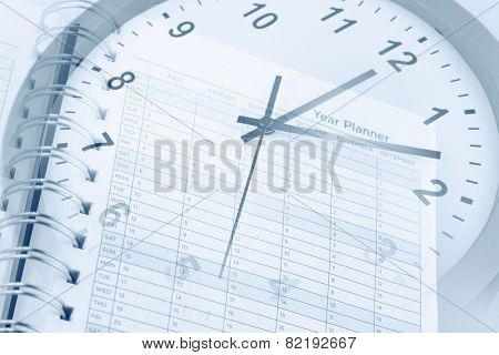 Clock face and year planner page