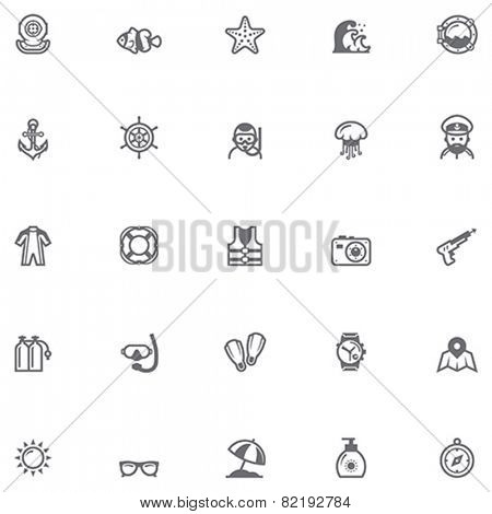 Set of the sea vacations related icons