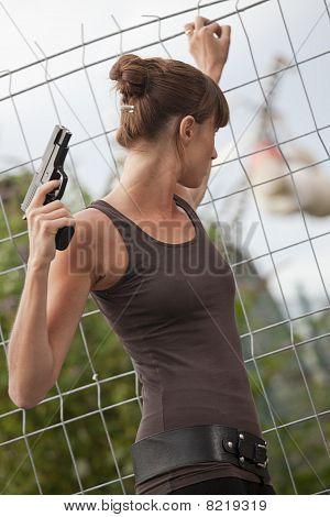 Female Agent With Gun