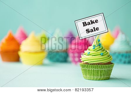 Cupcake with Bake Sale sign