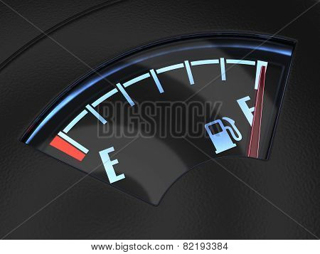 Gas Gage With The Needle Indicating A Full Tank. Fuel Concept
