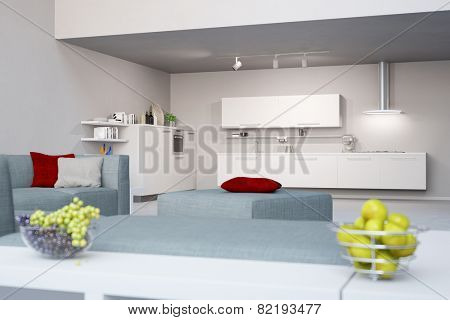Modern loft with eat-in-kitchen next to living room (3D Rendering)