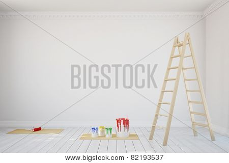 White wall with paint cans and ladder during renovation in old room (3D Rendering)