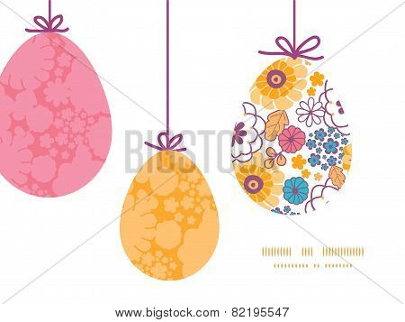 Vector colorful oriental flowers hanging Easter eggs ornaments sillhouettes frame card template
