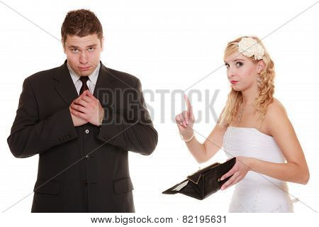 Couple Groom And Bride With Empty Purse, Conflict