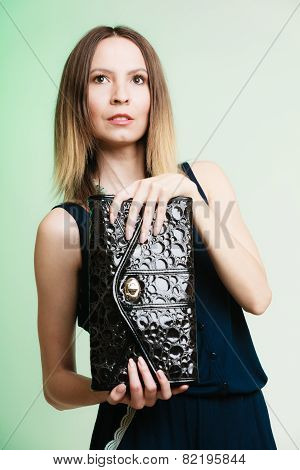 Stylish Woman Fashion Girl Holding Black Handbag