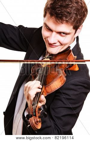 Man Violinist Playing Violin.