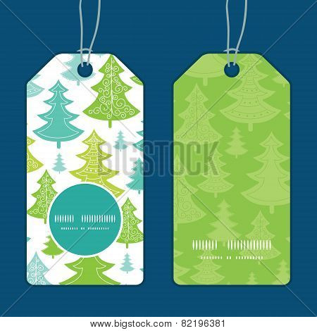 Vector holiday christmas trees vertical round frame pattern tags set