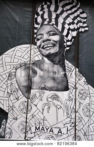 Street art Montreal  Maya Angelou