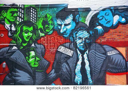 Street art Montreal businessmen