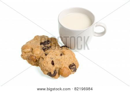 Cup Of Milk Milk And Cookies Isolated On White Background