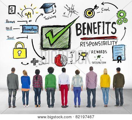 Benefits Gain Profit Income People Rear View Concept