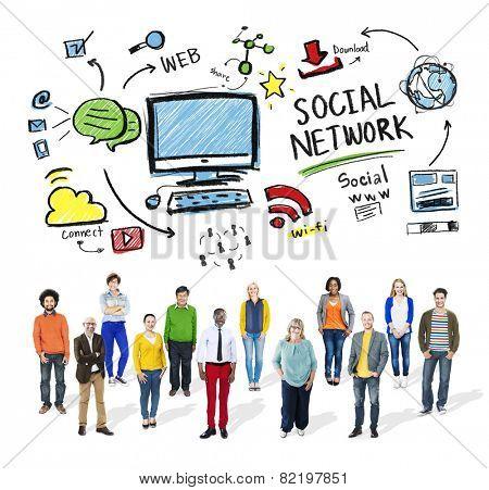 Social Network Social Media People Diversity Together Concept