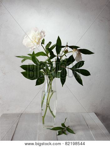 A bouquet of pale peonies in a glass vase on old  wooden table.