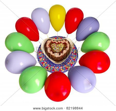 birthday decorative cake and balloons celebration background on isolate whit