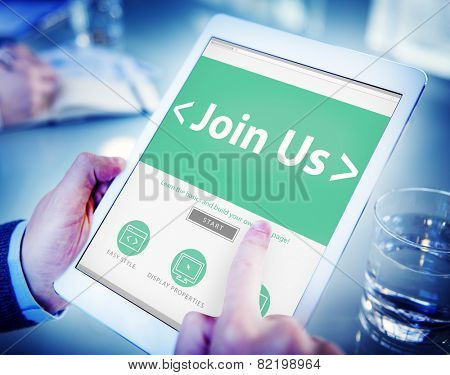 Digital Online Join us Business Office Working Concept
