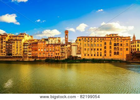 Arno River And Buildings Architecture Landmark On Sunset. Florence, Italy.
