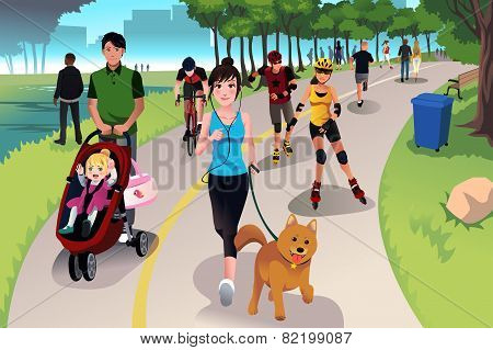 Active People In A Park