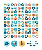 stock photo of universal sign  - set of 100 flat style education icons vector illustration - JPG