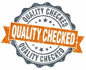 image of check  - quality checked vintage orange seal isolated on white - JPG