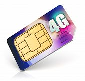 stock photo of micro-sim  - Color SIM card for mobile phone or smartphone with 4G LTE connection capability isolated on white background - JPG